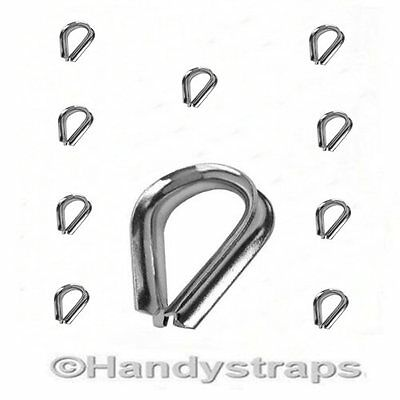 10 x 2mm Wire Rope Thimbles for 2mm wire Stainless Steel Marine Grade