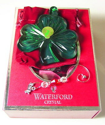 Waterford Crystal 2013 GREEN SHAMROCK Christmas Ornament, New in Box!