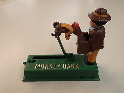 Vintage Cast Iron Monkey  Bank Piggy Bank Coin Bank