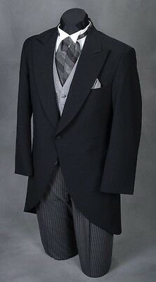 38 L Men's Black Cutaway Tuxedo Morning Coat Tux Victorian Renaissance Dickens