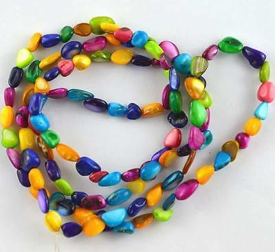 6-10mm Multicolor Shell Freeform Chips Loose Beads 32''