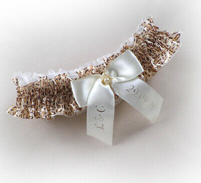 Boxed LEOPARD PRINT BRIDAL PERSONALIZED GARTER any size / language