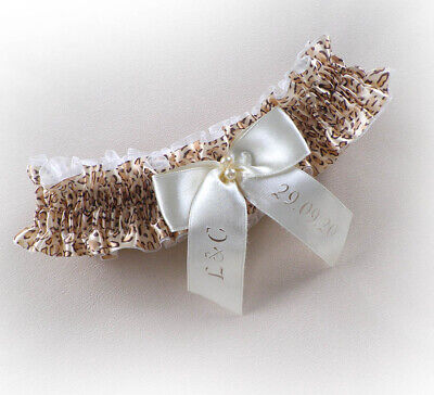 LEOPARD PRINT BRIDAL PERSONALIZED GARTER any size / language