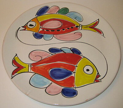 ITALIAN Colorful FISH Pottery SERVING Piece LARGE Round PLATTER