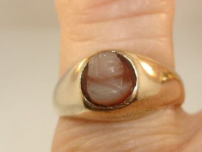 Antique Victorian 10K Solid Gold Carved Shell Cameo Dome Ring! Unique!