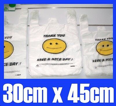 100 Singlet Plastic Carry Shopping Bags Smiley Smiling Smile face 30cmx45cm