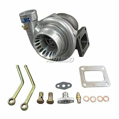 For T4 GT35 Turbo Charger Anti-Surge 500+ HP 0.68 AR + Oil Fitting Drain