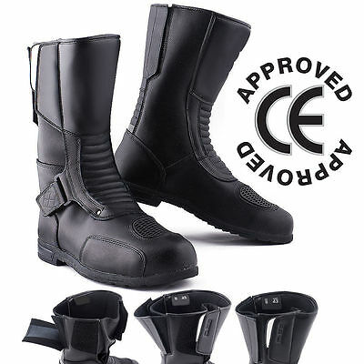 New Winter Motorbike Black Waterproof Motorcycle Touring II Two Leather Boots