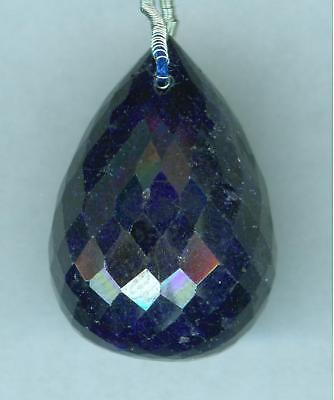 43 Ct Faceted Sapphire Briolette Drilled Bead  Pendant Bead  WOW   23x14