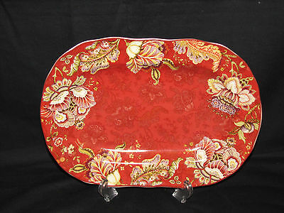 New 222 Fifth Gabrielle Red Fine China Porcelain Oval Salad Serving Bowl Plate