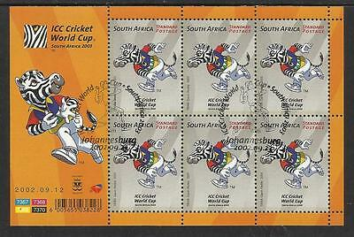 SOUTH AFRICA 2002 ICC CRICKET WORLD CUP Sheet No 3 Fine Used CTO Pictorial Pmk