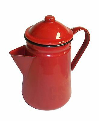 Falcon Red Enamel Tall Coffee Pot With Handle & Lid Tea Teapot - Camping