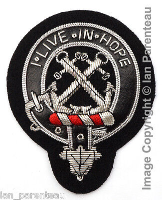 Kinnear Clan Black Leather Belt Hand Embroidered Sew-On Cap Badge