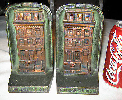 Antique Roosevelt Cjo Judd # 9671 Cast Iron Brown Stone House Building Bookends
