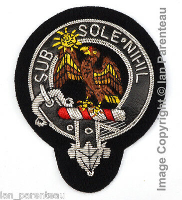 Monteith Clan Black Leather Belt Hand Embroidered Sew-On Cap Badge