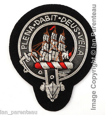 Tennant Clan Black Leather Belt Hand Embroidered Sew-On Cap Badge