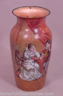 Large Beautiful Antique French Enamel Vase Gentleman & Lady Artist Signed