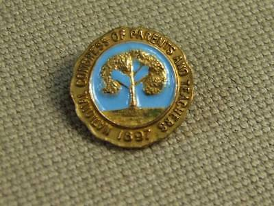 Vintage Brass Blue Enamel National Congress of Parents and Teachers Lapel Pin