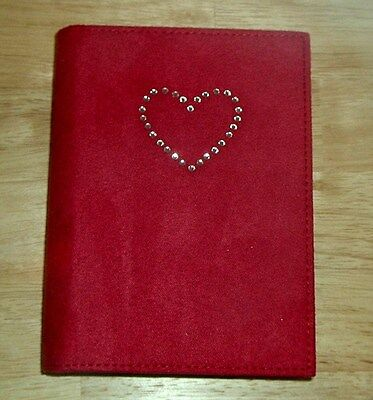 Faux Suede Ruby Red & Rhinestones Heart Journal Diary Silver Edge