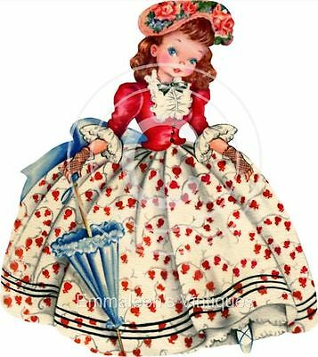 ~Vintage Image Shabby Southern Belle With Parasol Waterslide Decals~ KID561