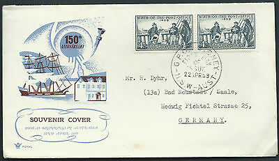 1959 4d Australia Post Office Birth Pair ROYAL FDC Uprated to GERMANY