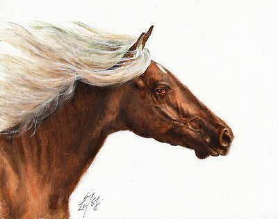 ★ Original Oil HORSE Portrait Painting PONY Artwork ARTIST SIGNED Brown Stallion