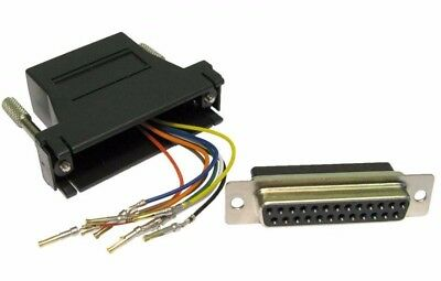 25 Pin Serial DB25 RS232 Female to RJ45 Network Female Socket Adapter Connecter