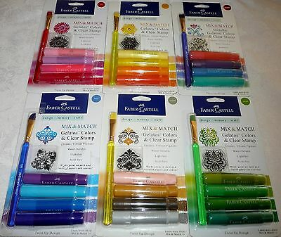 Faber-Castell Mix & Match GELATOS Colors & Clear Stamp LOT of 6
