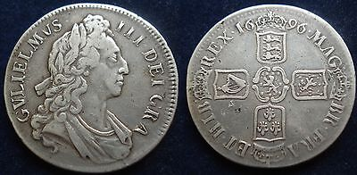 Great Britain 1696 William Iii Silver Crown Spink 3358 Higher Grade Coin