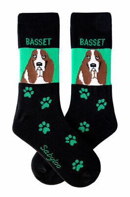 Basset Hound Socks Lightweight Cotton Crew Stretch Egyptian Made
