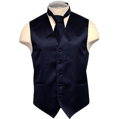 New Men's Polyester Vest Tuxedo Waistcoat & Necktie NAVY Blue Wedding Prom