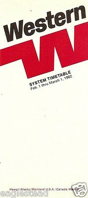 Airline Timetable - Western - 01/02/82 - ATC restrictions Reagan era