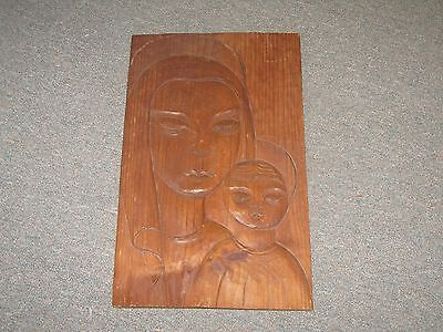 "Vintage Carved Sculptured Wood Carving picture plaque Primitive Folk Art 11""x18"""