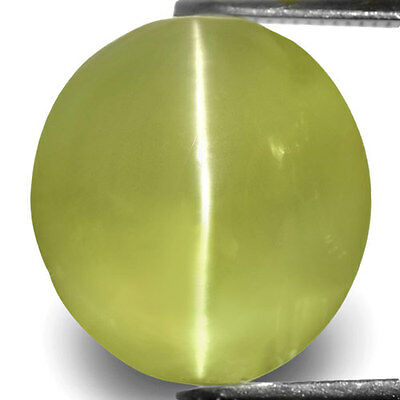 10.02-Carat Indian Chrysoberyl Cat's Eye with Strong Chatoyance,11.77 x 10.86 mm