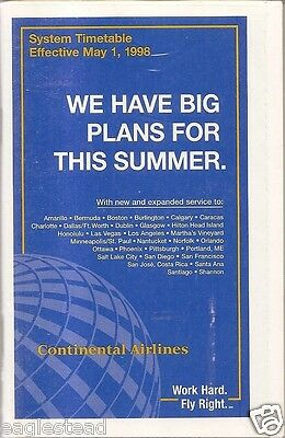 Airline Timetable - Continental - 01/05/98 - S