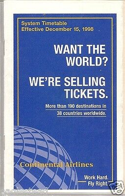 Airline Timetable - Continental - 15/12/98 - S