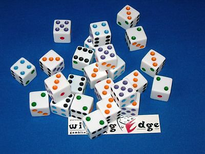 WHITE OPAQUE DICE w/ COLORED PIPS 16mm  (24 TOTAL) FREE SHIPPING