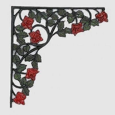 ROSE SHELF BRACKETS ONE SET HEAVY CAST IRON Cabin Man Cave Home Den Garage Decor