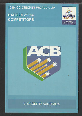 Icc 1999 Cricket World Cup Official Icc Postcard - Australia Badge Card