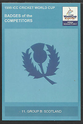 Icc 1999 Cricket World Cup Official Icc Postcard - Scotland Badge Card