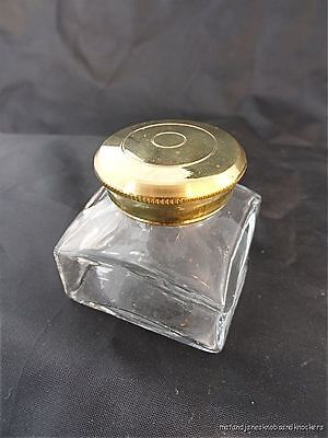 ANTIQUE STYLE GLASS AND BRASS WRITING SLOPE INKWELL INK BOTTLE WRITING BOX SCREW