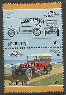 ST VINCENT 1986 CARS USA CADILLAC 1916 Type 53 SPECIMEN Overprint PAIR MNH