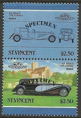 ST VINCENT 1986 CARS FRANCE 1931 BUGATTI TYPE 41 SPECIMEN Overprint PAIR MNH