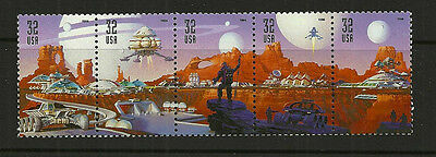 1998 32 cent Space Discovery strip of 5, Scott #3238-3242