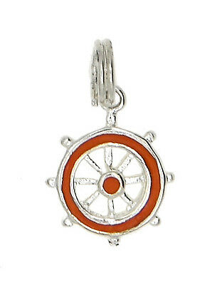 Sterling Silver Captain's Wheel With Orange Enamel Charm/pendant
