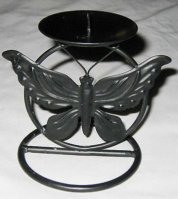 """Black Metal 5"""" Tall Candle Holder Butterfly Bug Background"""