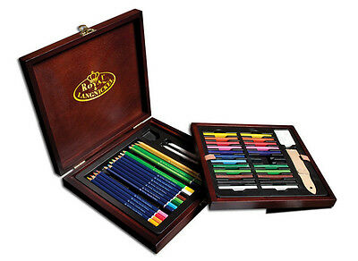 Artists Deluxe Drawing Set Wooden Box 49 Piece Colour Pencil Sketch Gift DRW1600