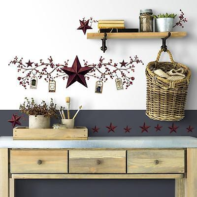 New STARS & BERRIES WALL DECALS Country Kitchen Stickers Rustic Primitive Decor