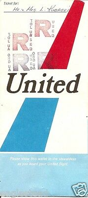 Ticket Jacket - United - White with Tail over Blue - TOL ORD Stamp  1970 (J1642)