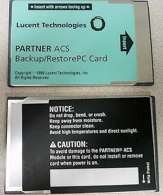 Avaya AT&T Lucent Partner ACS Backup/Restore PC Card w/90 Day Warranty